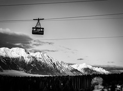 Up (Andris Nikolajevs) Tags: blackandwhite white snow black mountains alps tree monochrome forest mono skiing altitude smoke cable cablecar innsbruck igls
