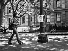 Race To The Train (TMimages PDX) Tags: road street city people urban blackandwhite monochrome buildings portland geotagged photography photo image streetphotography streetscene sidewalk photograph pedestrians pacificnorthwest avenue vignette fineartphotography iphoneography