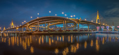 bhumibol bridge (KarnThmarshal - [KarnjiTang]) Tags: camera trip travel bridge light sky panorama cloud reflection beautiful night wonderful landscape asian thailand idea bride town nice twilight asia cityscape image good bangkok district pano sony wide picture thai build siam aec bhumibol awasome samyang a7s bhumibolbridge
