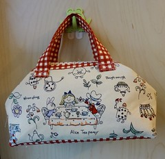 Mini Frame Tote: Alice Tea Party (OrangeZoo) Tags: red handmade alice wonderland handbag tote