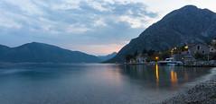 Kotor Bay at night (Picturethescene) Tags: longexposure lake tourism bay balkans adriatic montenegro waterscape kotor summerholidays boka skadarskojezero kotorska romanticplace skadar