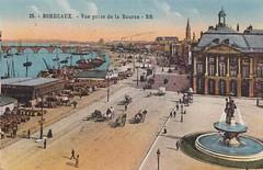 Bordeaux, au dbut du 20me sicle. Place de la Bourse, les quais, le Pont de pierre, l'glise et la tour Saint-Michel. (Only Tradition) Tags: france frankreich bordeaux frana frankrijk francia franca franciaorszg  frana
