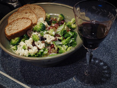 Salad For Two (Lake Effect) Tags: broccoli cauliflower fromleeperparkartfestival grapes potterybowl red salad toast wine 204365 project365 explore explored
