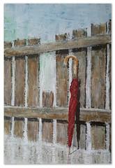 20160613_Schirm 06_Acryl auf Malpappe 40x60cm (gabyjunker226) Tags: natur zaun acryl schirm roterschirm malpappe