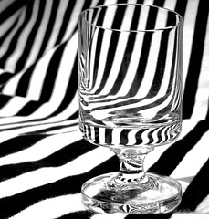 Stripearama... Macro Monday-Stripes (Kaos2) Tags: blackandwhite macro glass monochrome lines stripes stripe refraction shotglass macromonday