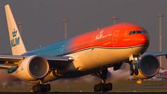 KLM Boeing 777-300ER PH-BVA (Aviation and Travel photography) Tags: sunset netherlands amsterdam sunrise airplane flickr aircraft aviation air jet boeing klm schiphol ams airliner jetliner eham luchthaven 777300er phbva
