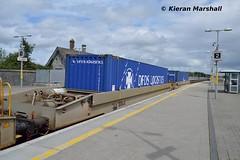36014 passes Portarlington, 27/6/16 (hurricanemk1c) Tags: irish train rail railway trains railways irishrail cpw dfds portarlington 2016 iarnrd ireann 36014 detforenededampskibsselskab iarnrdireann containerpocketwagon