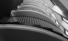 vier Stockwerke. (HansEckart) Tags: shadow blackandwhite bw monochrome stairs licht line architektur schatten treppenhaus formen linien aufgang