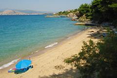 ~ Agios Minas Beach (Argyro...) Tags: blue sea seascape beach water umbrella landscape seaside sand greece chalcis   agiosminasbeach