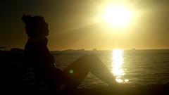 . (Julyyaa) Tags: sunset espaa woman sol contraluz atardecer mujer spain ibiza puestadesol silueta eivissa isla islasbaleares islablanca