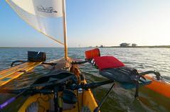 Leaving Hap's (chadbach) Tags: ocean water island bay boat sailing texas adventure 200 sail tandem hobie 2016