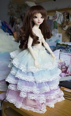 Agnes' Rinbow Dress (~Akara~) Tags: face up ball rainbow doll dress head pastel sewing 14 mini event fairy land bjd fl custom sarang making fairyland fee 2014 jointed mnf faceup minifee