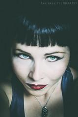 Little Weirdo (freshandfun) Tags: red portrait woman selfportrait green me myself eyes lips pale greeneyes brunette selfie