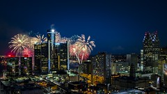 Fireworks in Detroit (Notkalvin) Tags: city longexposure roof rooftop skyline night cityscape outdoor detroit greektown motorcity detroitfireworks mikekline greektowncasinohotel notkalvin notkalvinphotography