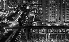 Ready to depart! (smallfour_83) Tags: longexposure blackandwhite building night train landscape hongkong kowloonbay