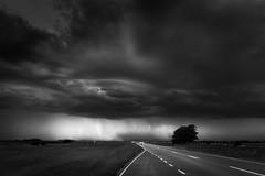 Approaching storm - BW (hzeta) Tags: approaching storm tormenta acercandose sky cielo drama dramatic dramatico road ruta carretera car auto rain lluvia blanco y negro black white bn bw