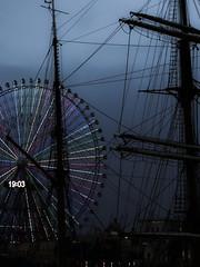 Nippon Maru & Ferris Wheel (Rekishi no Tabi) Tags: leica japan ferriswheel yokohama minatomirai nipponmaru kanagawaprefecture