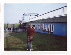 Instax'ing around (baumbaTz) Tags: camera bridge germany polaroid deutschland la fuji dam may wallart mai land barrier drawbridge brcke dike elbe stade 104 sperrwerk landcamera klappbrcke altesland altes deich niedersachsen lowersaxony bruecke grnendeich lhe 2013 fp100c fujifp100c lheanleger fp100 polaroidlandcamera104 201305 lueheanleger