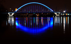 Lowery bridge (Riddhish_C) Tags: longexposure bridge blue usa color reflection water horizontal night mississippi downtown minneapolis cast nightview longshutter pigment achitecture lowery riddhish