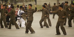 Drills at Kim Il-Sung Square (benyjakabek) Tags: life street blue homes ladies lady river subway children square fun traffic kim military performance fair security palace area inside guards dmz joint zone pyongyang sung demilitarized kaesong taedong mansudae jongil nampo kimil