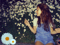 i could have fallen asleep in this bed of flowers (GlitterDustDancing) Tags: flowers summer flower daisies vintage bed retro dungarees daydream glitterdustdancing