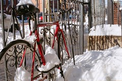 Winter Brooklyn (DoubleBen) Tags: new york city nyc winter snow newyork film bike bicycle brooklyn 50mm lomo nikon 14 400 f2 nikonf2