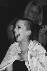 Lucy's Big Shave (Charlotte Catherine) Tags: portrait blackandwhite blur girl monochrome beautiful beauty smile happy lucy candid cancer bald shaving laugh shave greyscale cancerresearch tiltshift canoneos550d