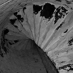 Spiral (Seeing Visions) Tags: wood bw usa lighthouse monochrome mi stairs america square spiral us paint unitedstates michigan pole flaking spiralstaircase presqueisle handhewn 2013 oldpresqueislelight raymondfujioka