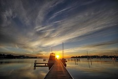 Home time (pominoz) Tags: lake reflection clouds sunrise pier boat jetty wharf nsw lakemacquarie wangiwangi