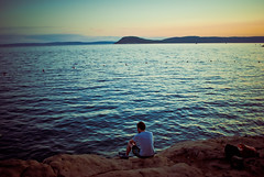 Thoughtful idyll (jev55) Tags: ocean blue sunset sea summer man green wet water nikon thought sat