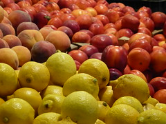 Lemons, plums and peaches (rochpaul5) Tags: orange yellow fruit jaune lemon market budapest peach plum citrus farmer limon
