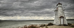 Gull Harbour lighthouse (`·.¸ Susan .•*´)¸.•*´) Tags: lighthouse canada beach water clouds nikon manitoba hdr d300 lakewinnipeg hecla heclaisland gullharbour heclagrindstoneprovincialpark
