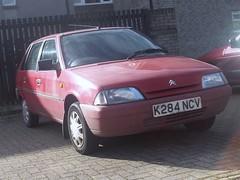 Citroen AX (occama) Tags: old uk red car french cornwall citroen 11 retro cc faded 1992 ax reg registration cornish 1124 k284ncv
