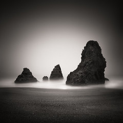 Be Still and Know (maxxsmart) Tags: ocean sanfrancisco california longexposure blackandwhite bw seascape 6x6 film water monochrome fog analog sunrise mediumformat square sand rocks pacific bayarea marincounty stacks hasselblad501cm fujiacros100 lee10stopnd zeiss50mmcf