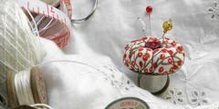 Red Berries - Pumpkin Pincushion Ring in White (Wychbury Designs) Tags: christmas red green thread vintage festive pumpkin gold berries handmade sewing victorian craft pins ring button nostalgic pincushion wearable needles haberdashery sewingbox