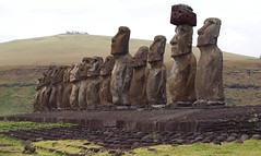 The 15 Moai, Easter Island (Hammerhead27) Tags: old sculpture face statue rock stone ancient 15 carving line figure weathered moai easterisland plinth rapanui hanguroa