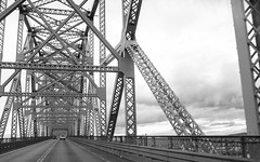 pass thru steel (dalioPhoto) Tags: travel bridge blackandwhite bw horizontal oregon digital blackwhite nikon iron industrial driving crossing steel structure strength beams d700 daliophoto marcdalioall