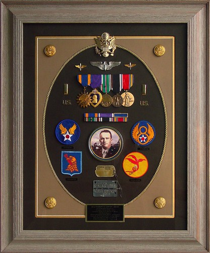 2nd Lt Robert S. Carter, U.S. Army Air Force, WWII B-17G Bombardier-Navigator, POW in Stalag Luft 1 prison camp--Shadow box tribute. Please scroll down to read details.
