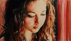 Amy in Red (SkylerBrown) Tags: red portrait orange usa art girl beautiful face paper amazing artwork colorful warm pretty drawing gorgeous dramatic calm pale redhead teen brunette redhair coloredpencil caucasian amybush skylerbrown