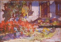 Romualdo Prati Cespugli di fiori rossi olio tavola 25x35cm Collezione privata