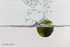 Green Apple Upside Down (Carltonaut) Tags: jason green apple water fruit canon photography photo still carlton action flash bubbles h2o photograph splash stopmotion speedlite 60d carltonaut