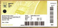 Manchester City v Crystal Palace match ticket (2013) (The Wright Archive) Tags: city uk england manchester football december crystal stadium soccer ground ticket palace v match 28 premier league mufc cityofmanchesterstadium cpfc etihad 2013