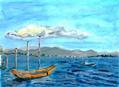 oil painting lake and boat (dansemuou) Tags: ocean wood travel red sea sky white lake love nature water beautiful silhouette illustration clouds sunrise river painting landscape boat wooden fishing background oil sail draw