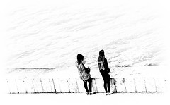 Two. (CWhatPhotos) Tags: pictures picture that has pics with pic which photograph photographs containing images image photo photos contain canon eos dslr 450d 100mm portrait macro prime f28 28 lens ef seaham harbour dock docks pier cloudy day may 2014 cwhatphotos walking walk high contrast over exposed black white mono monochrome two people seaside harbor
