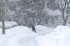 A Shovel Against the Tide (AntyDiluvian) Tags: snow boston massachusetts snowdrift snowstorm newengland melrose snowfall shoveling snowbank snowfalling