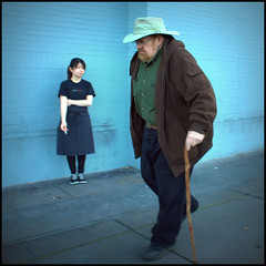 SF, 2015 (abking09) Tags: sanfrancisco california street people woman man color cane walking square candid allanking