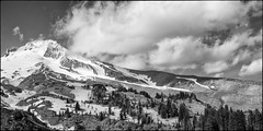 Dancing Clouds (greenschist) Tags: trees usa mountain snow clouds oregon blackwhite mthood stratovolcano 6x12