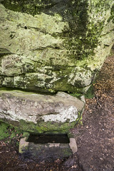 The wizards well (Keartona) Tags: water spring woods rocks cheshire path carving well mysterious legend trough inscription alderleyedge wizardswell