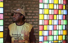 Frei Gilberto com os vitrais da capela do Eremitrio da Trindade na Serra de Landri Sales-PI 099 (vandevoern) Tags: brasil piaui silncio solido eremitrio orao capela floriano vandevoern landrisales
