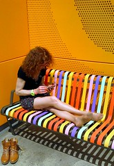 Rainbow lady - Colors colors (patrick_milan) Tags: orange woman colors girl yellow jaune bench rainbow femme fille banc arenciel
